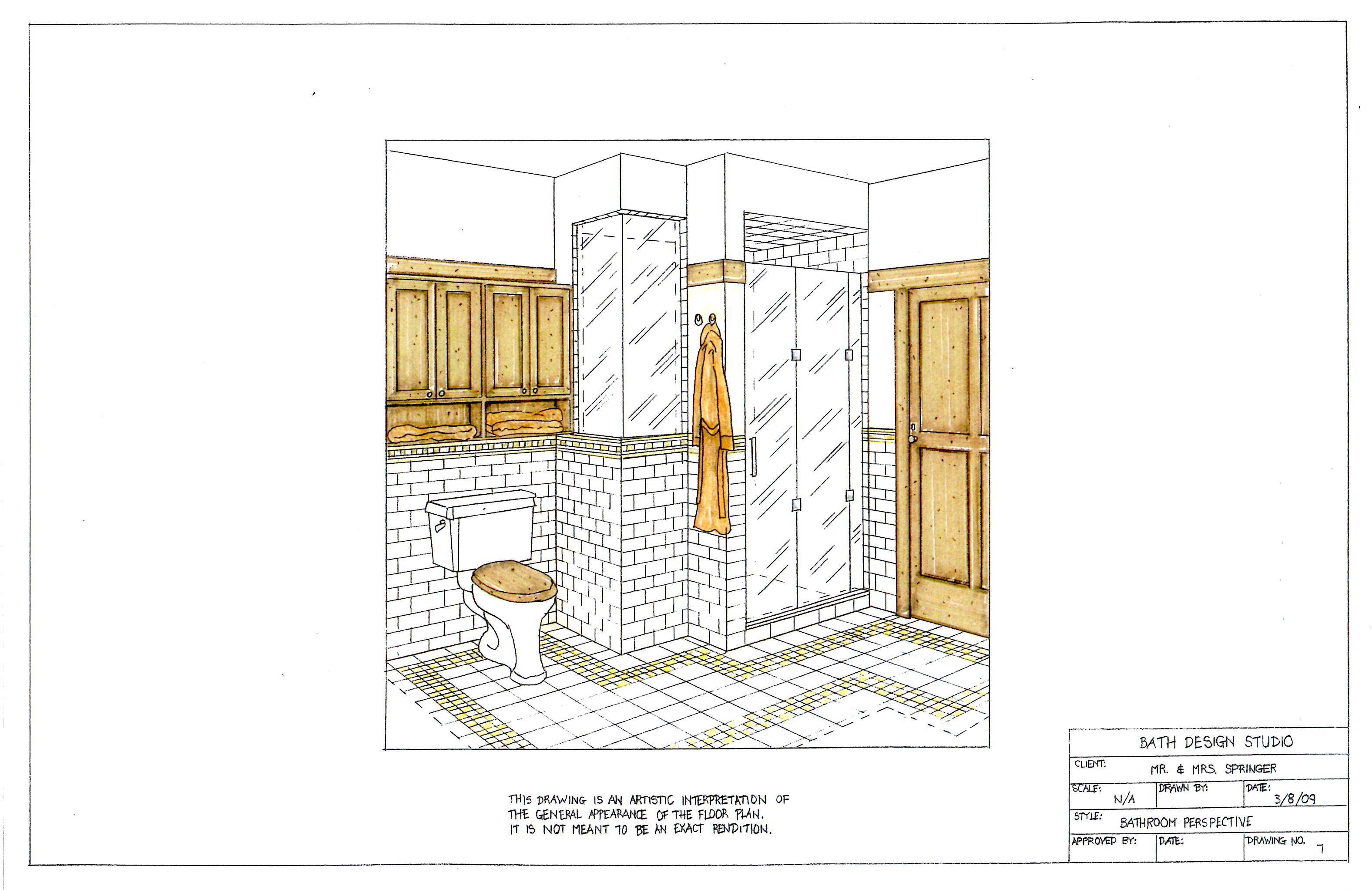 Image Result For Remodeling Bathroom Hand Rendering Drawings