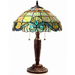 Tiffany Style Pearl Vintage Table Lamp, Green (Glass) | Vintage ...