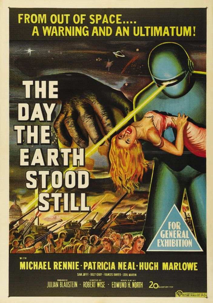 Directed by Robert Wise.  With Michael Rennie, Patricia Neal, Hugh Marlowe, Sam Jaffe. An alien lands and tells the people of Earth that they must live peacefully or be destroyed as a danger to other planets.