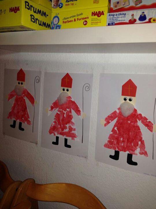Nikolaus malen ausschneiden aufkleben weihnachten - Basteln zu nikolaus im kindergarten ...