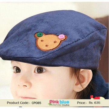 80168f67e71 Navy Blue Stylish Summer Infant Cap With a Bunny Bear Patch ...