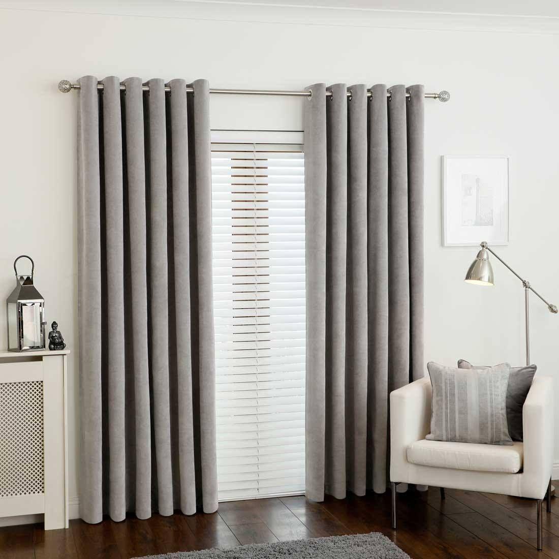 Rib Velour Mink Eyelet Curtains Velvet Curtains Curtains Grey Curtains