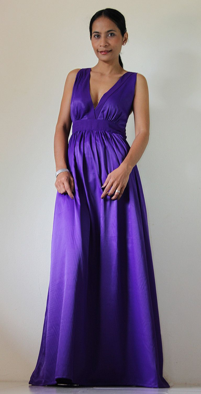 Purple Maxi Dress Classy Elegant Deep V-Shape Sleeveless Gray Formal ...