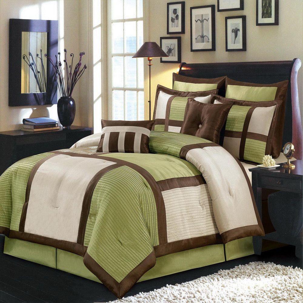 8pc Modern Color Block Sage Green Ivory Comforter Set