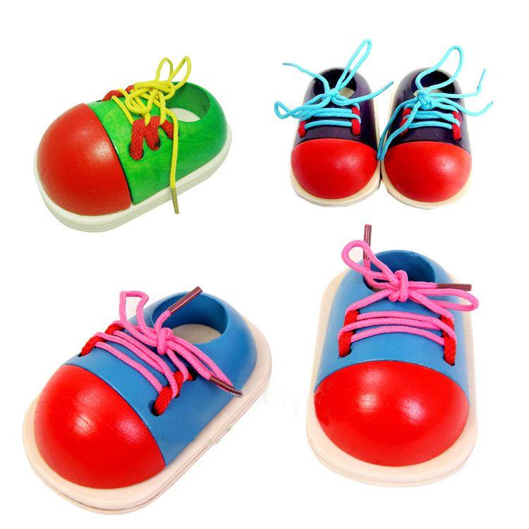 1 개 임의의 아이 몬테소리 교육 장난감 어린이 나무 장난감 유아 신발 끈 조기 교육 몬테소리 교육 에이즈