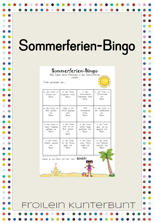 Sommerferien Bingo   Bingo, Schulbeginn geschenk, Unterrichtsmaterial