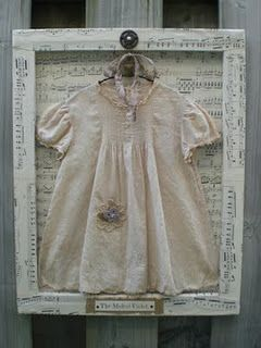 Vintage Baby Dress Framed Using The Back Of A Canvas I