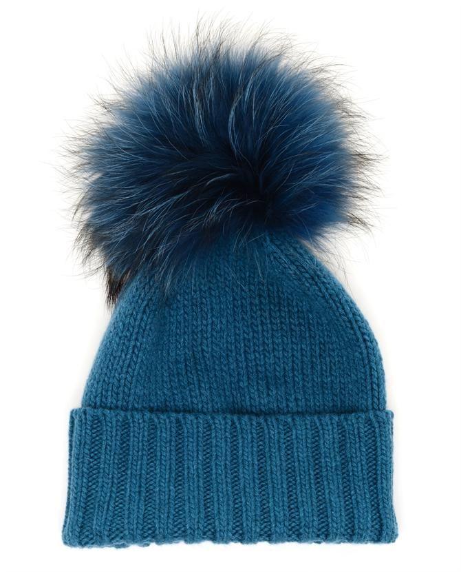 fur pom pom beanie - Blue inverni ocrBpNPfd