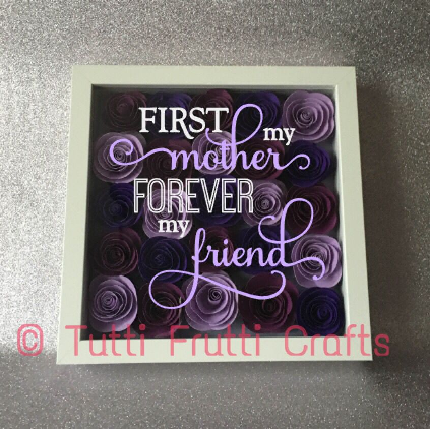 Purple Roses shadow box with phrase - Mother\'s Day | diy vinyl ...