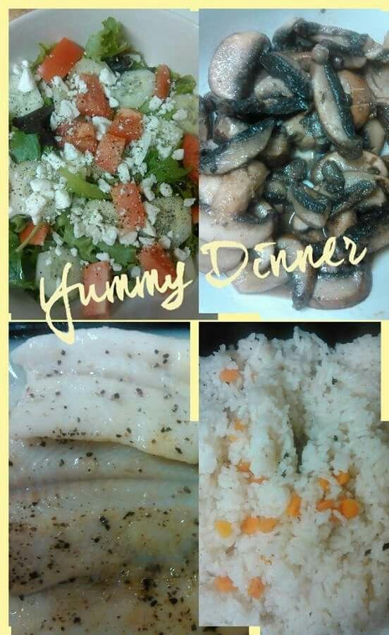 Baked Halibut, sauteed mushrooms, jasmine rice and salad w/ homemade vinegarette.