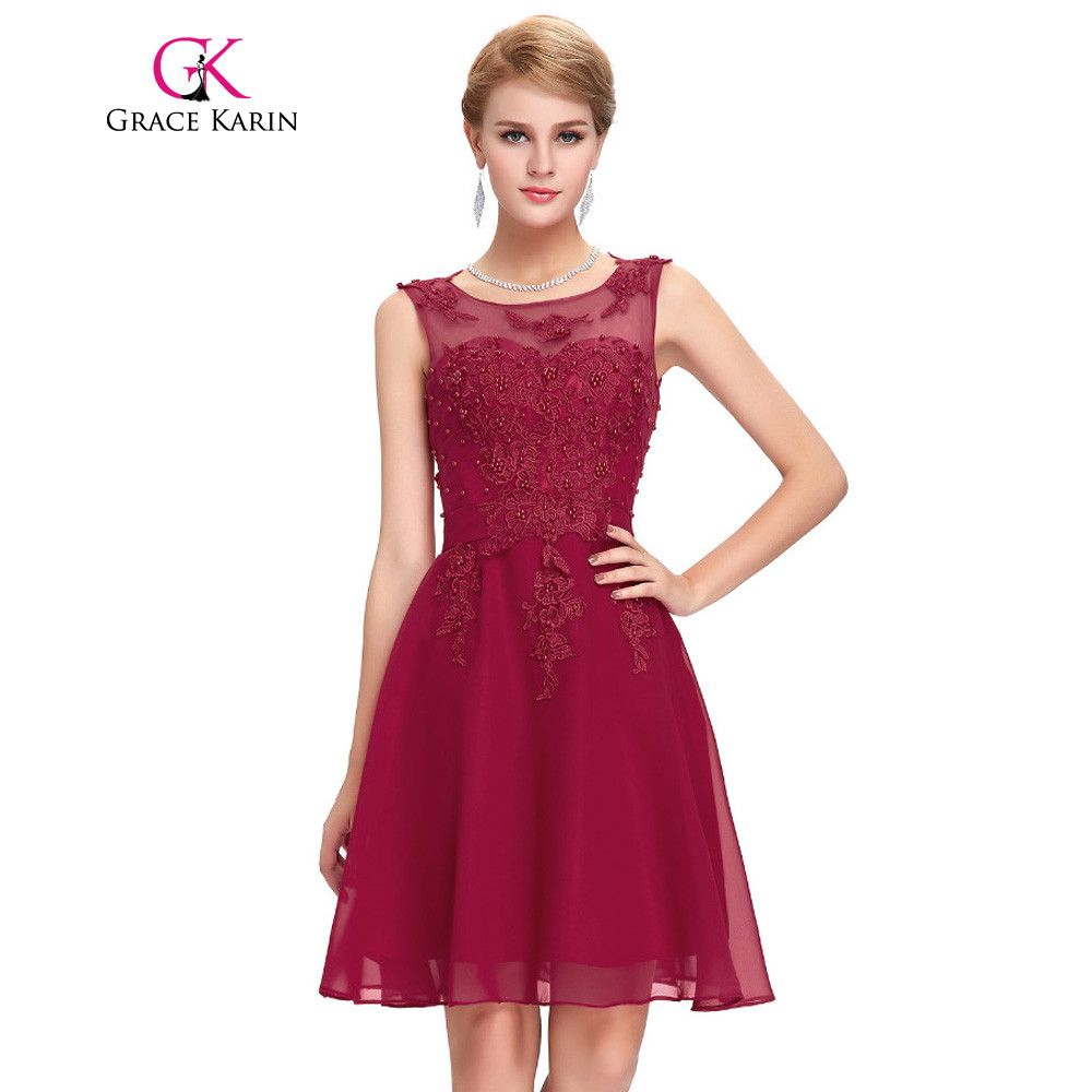 Bridesmaid dresses grace karin short party vestidos sleeveless dress