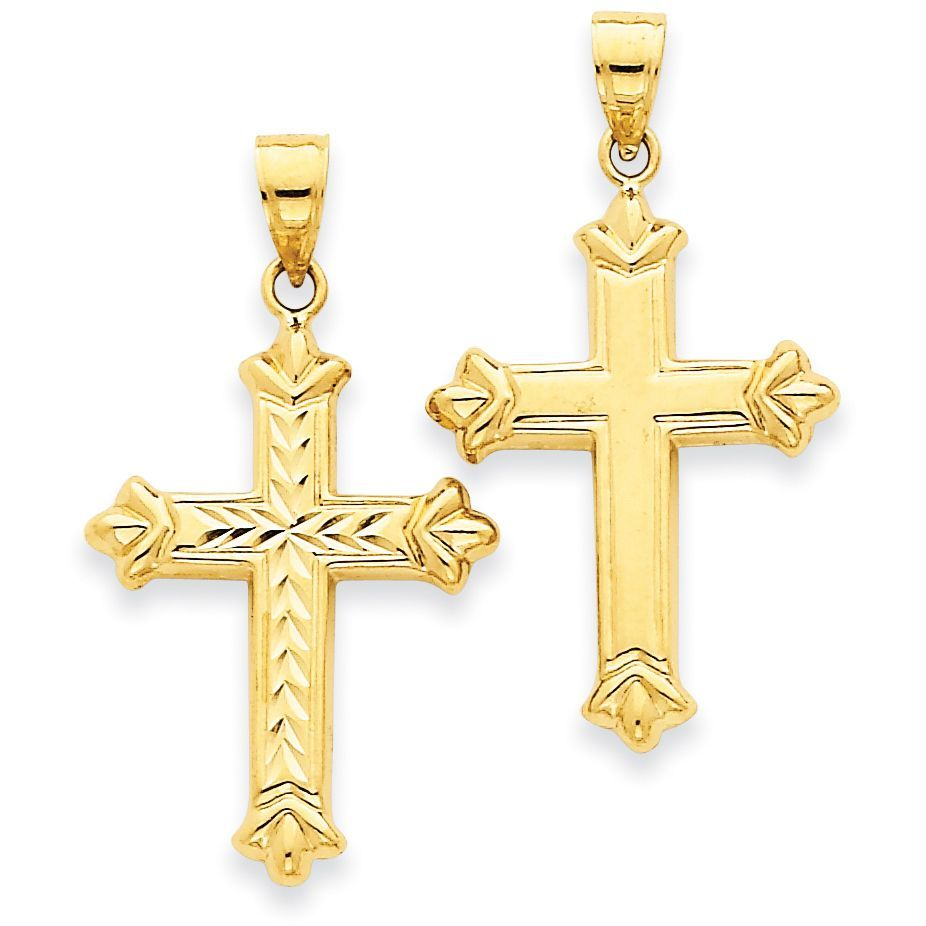 14K Yellow Gold Reversible Budded Cross Charm Pendant