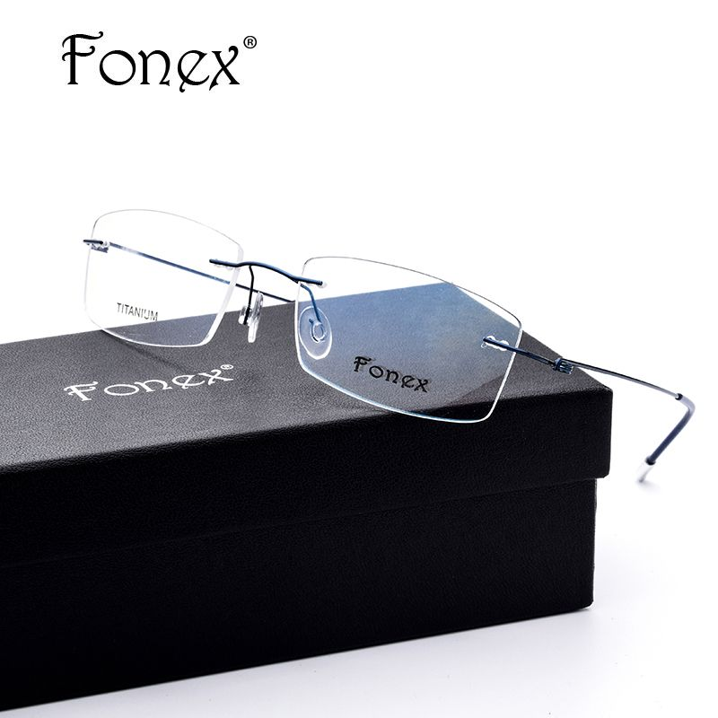 641b4cc529 promo fonex no screw ultralight design rimless titanium glasses frame men  prescription  designer  prescription  glasses