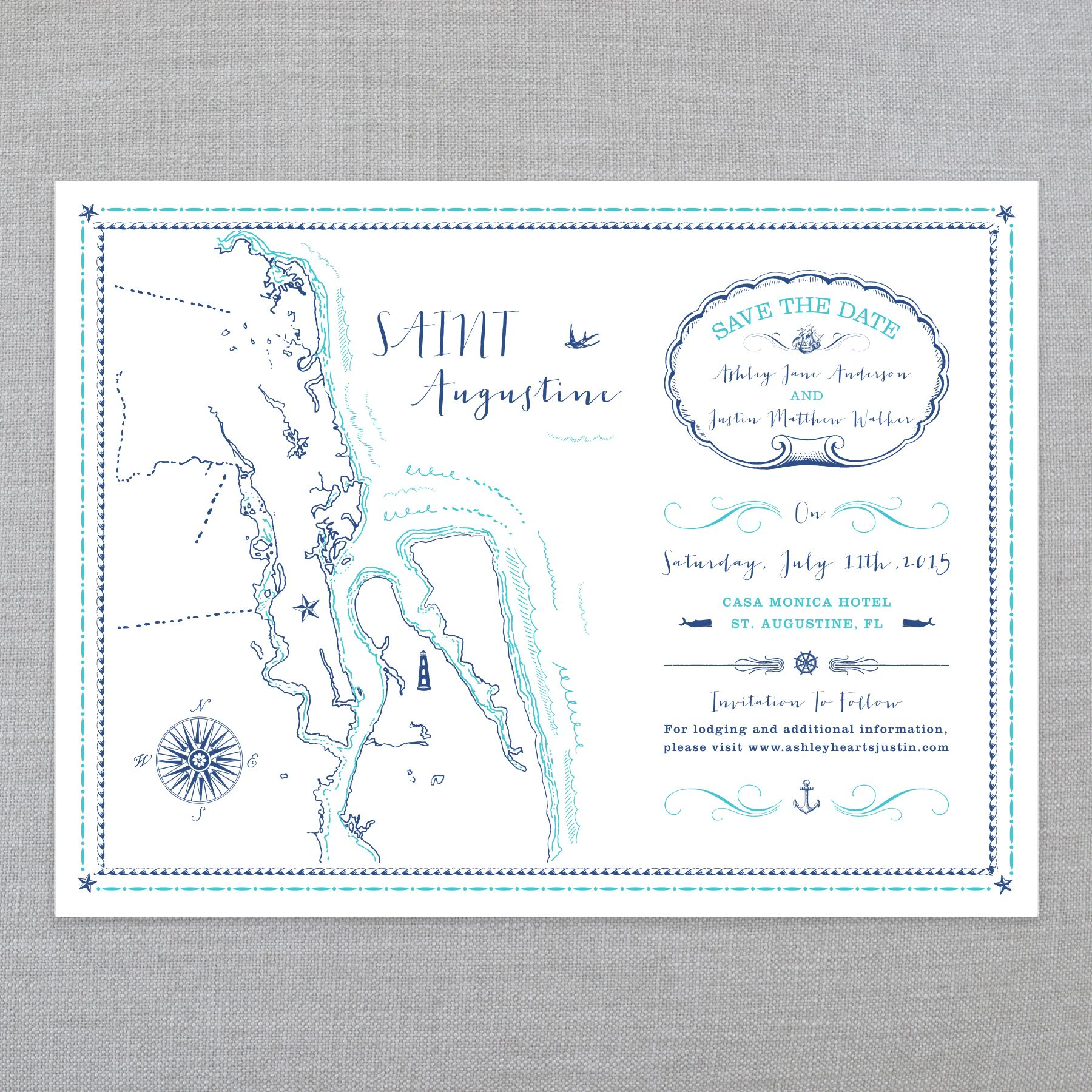 THE ILLUSTRATED ISLANDS • SAVE THE DATES • ST AUGUSTINE, FL: The Ice Cream Social Illustrated Island series is a beautiful tri-fold map inspired Save The Date, perfect for any coastal themed wedding! Available in many other locations.