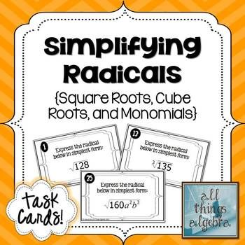 Simplifying Radicals Task Cards (Square Roots and Cube Roots ...