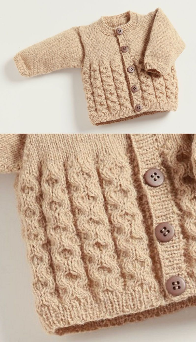 Free Knitting Pattern Baby Cardigan with Cables | Pinterest | Tejido ...