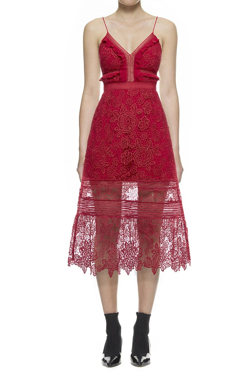 a8bafe446617  318.00 Self-Portrait Floral Blush Midi Dress In Raspberry Red ...