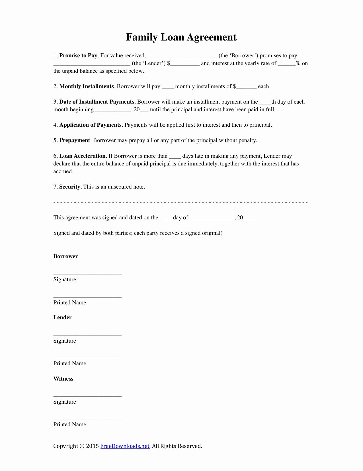 Free Personal Loan Contract Template Lovely Download Family Loan Agreement Template Pdf Rtf In 2020 Contract Template Notes Template Loan