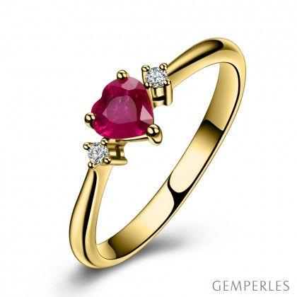 bague or jaune rubis coeur