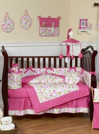Circles Hot Pink and Lime Green Baby Bedding - 9 Piece Crib Set
