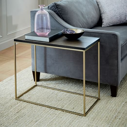 Streamline Side Table Whitewashed Light Bronze West Elm Side