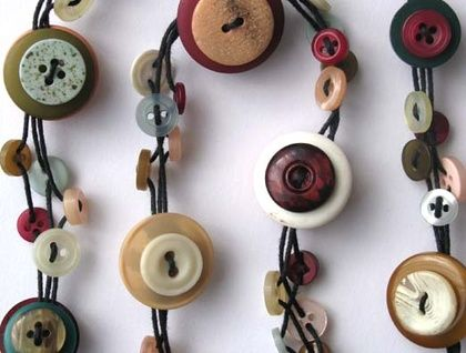 Button necklace! Teal, peach, green, maroon and cream  | Felt