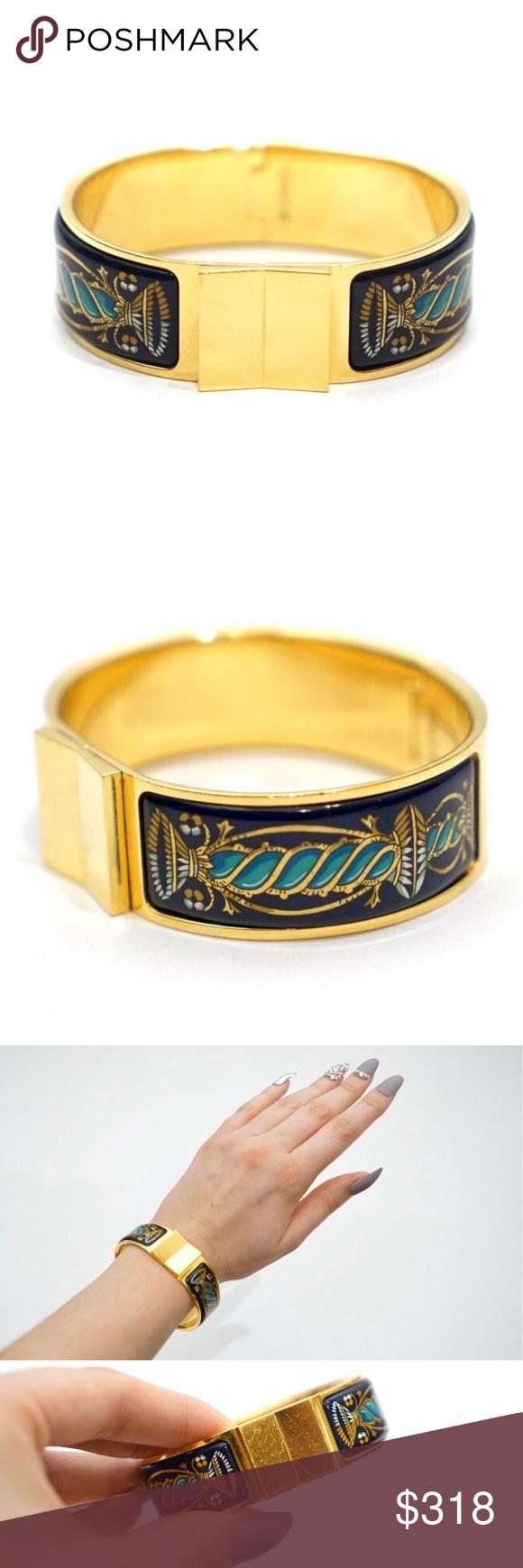 Hermes Vintage Loquet Enamel Clic Bracelet 100 Authentic Designer Hermes Bracelet Vintage Gold Loqu Vintage Hermes Enamel Bracelet Womens Jewelry Bracelets