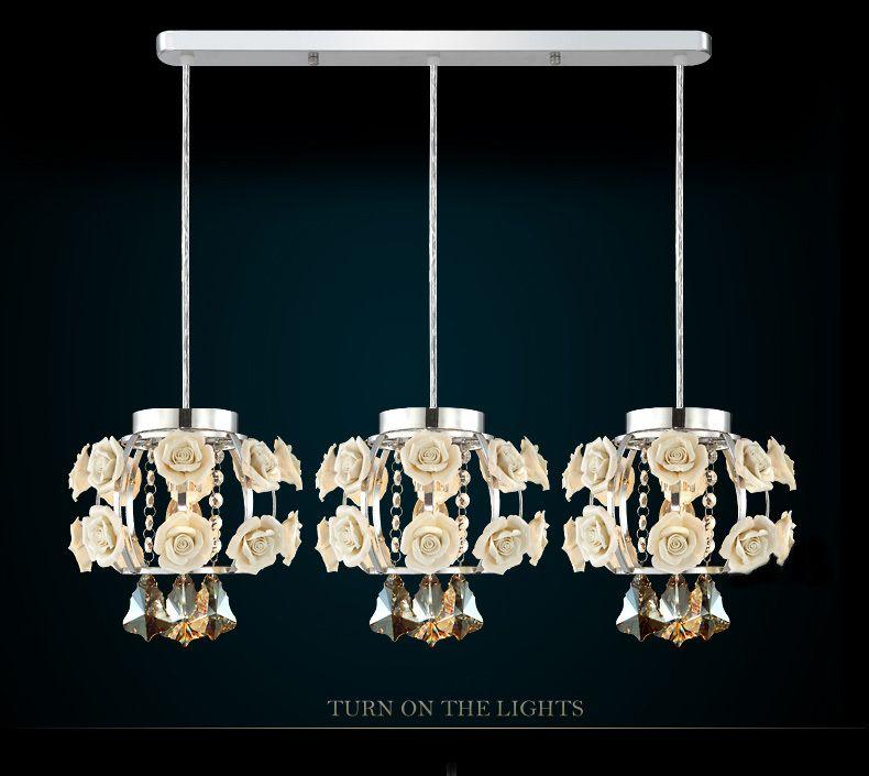 Novelty lighting Pendant Lights Modern Minimalist Flowers Crystal Pendant Lamp Bedroom Lamp Creative Restaurant Lights 3