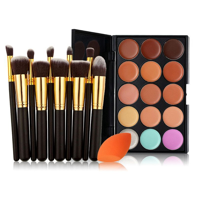 15 Color Cream Contour & Concealer Palette 10pcs Full Face Brush Set Blending Sponge Product Details: - Brush Material: Synthetic fibre - Handle material: Wood - Weight: 7.3 Ounce - Length: Large brus