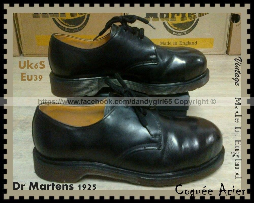 Cuir Made In Noir Lisse Martens Dr 1925 England Vintage Acier Coquée zaqxE8w