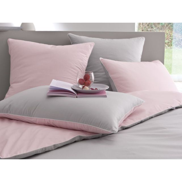 housse de couette percale 80 fils cm gris perle et rose la redoute 63 b b. Black Bedroom Furniture Sets. Home Design Ideas