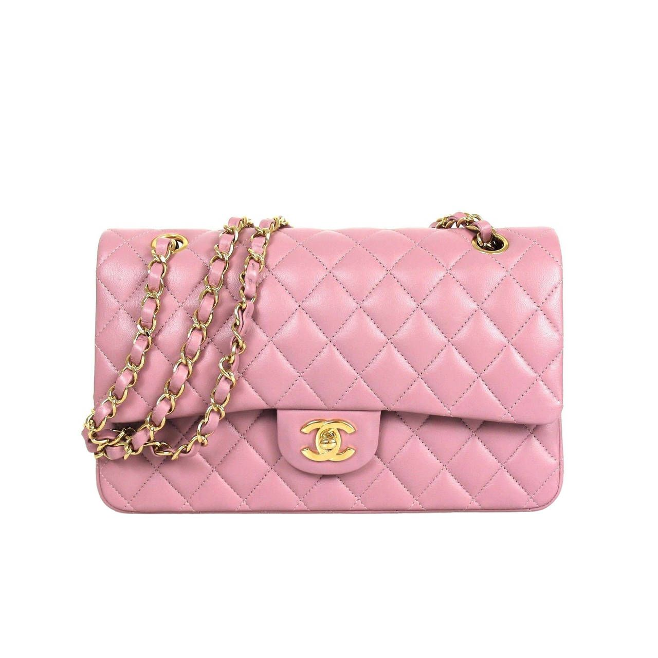 Leather quilted handbags and purses - Chanel Lilac Quilted Lambskin Leather Gold Hdw Medium Double Flap Shoulder Bag