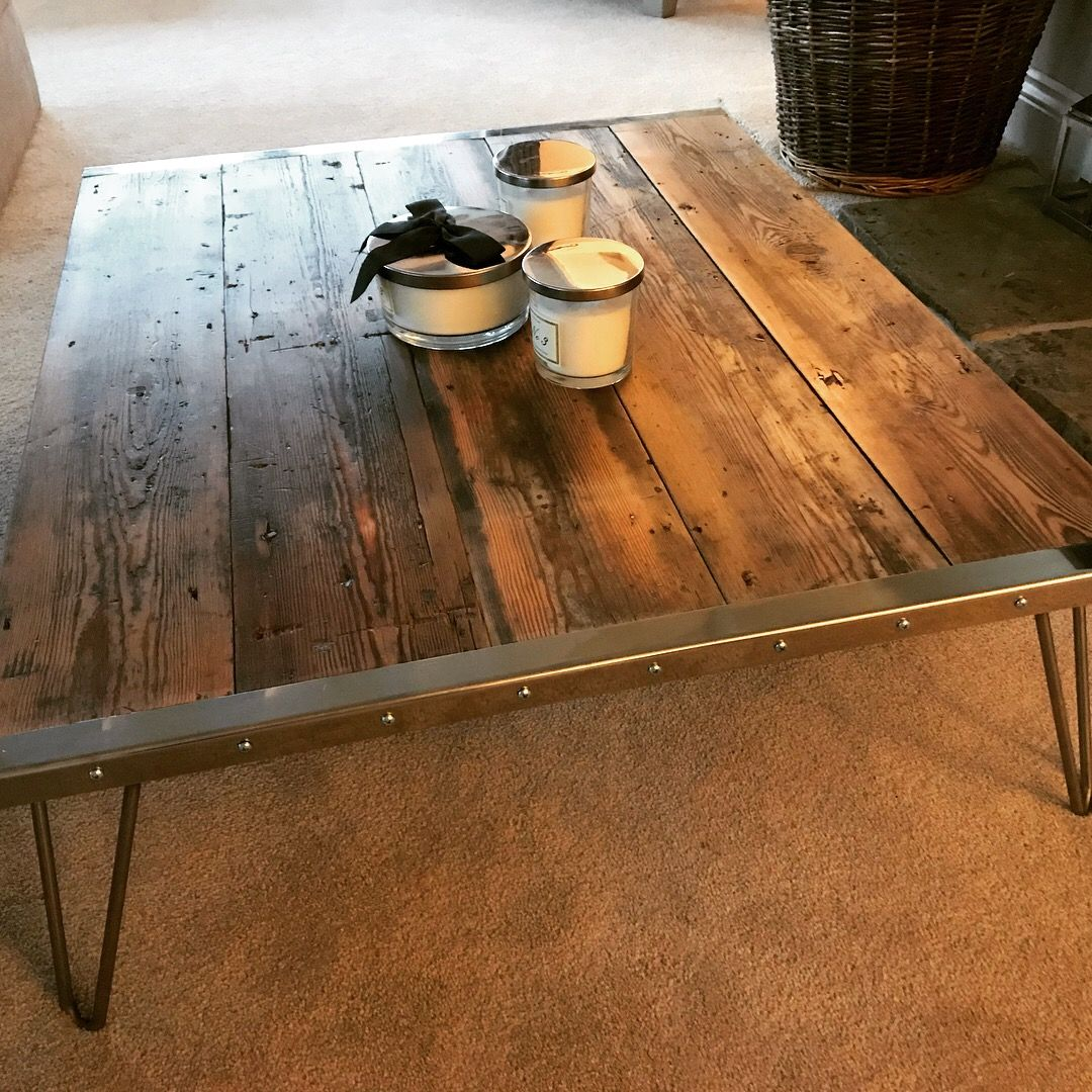 Victorian Pitch Pine From A Church In Blackburn Built In 1857 3mm Stainless Steel Edges Routered Int Industrial Style Coffee Table Industrial Table Pine Table
