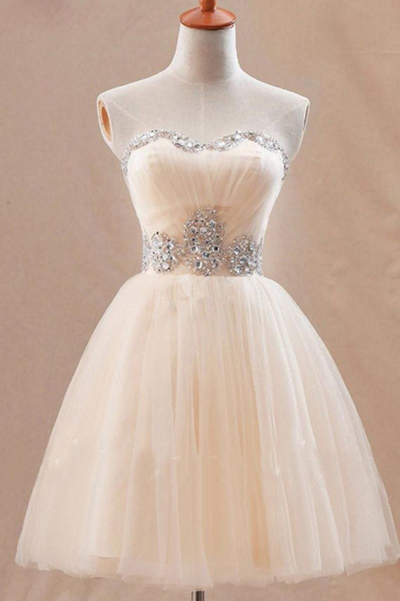 Cute sweetheart short tulle homecoming dress with crystals ivory
