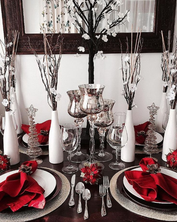 Pin by annette eaves on black n white memorial celebration - Modern christmas table settings ideas ...