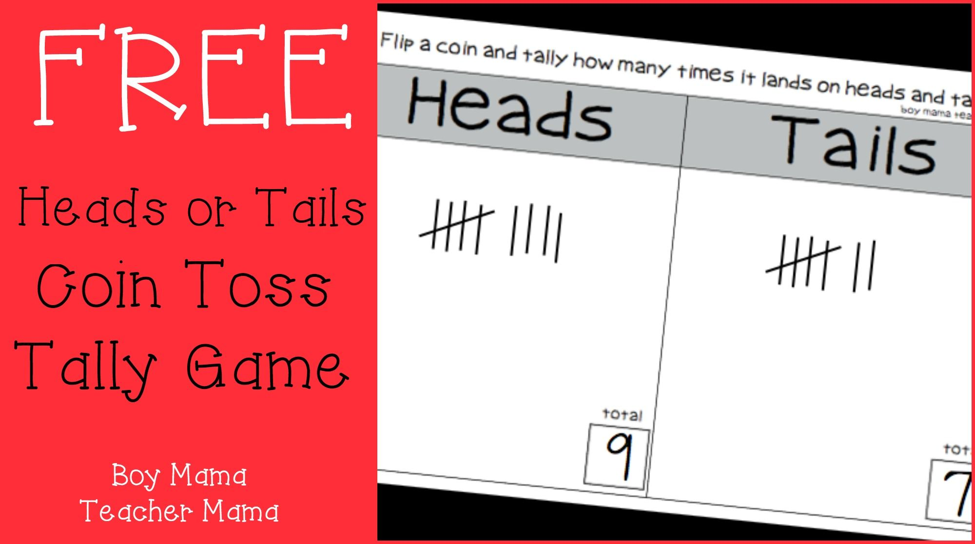 Teacher Mama Free Printable Heads Or Tails Coin Toss