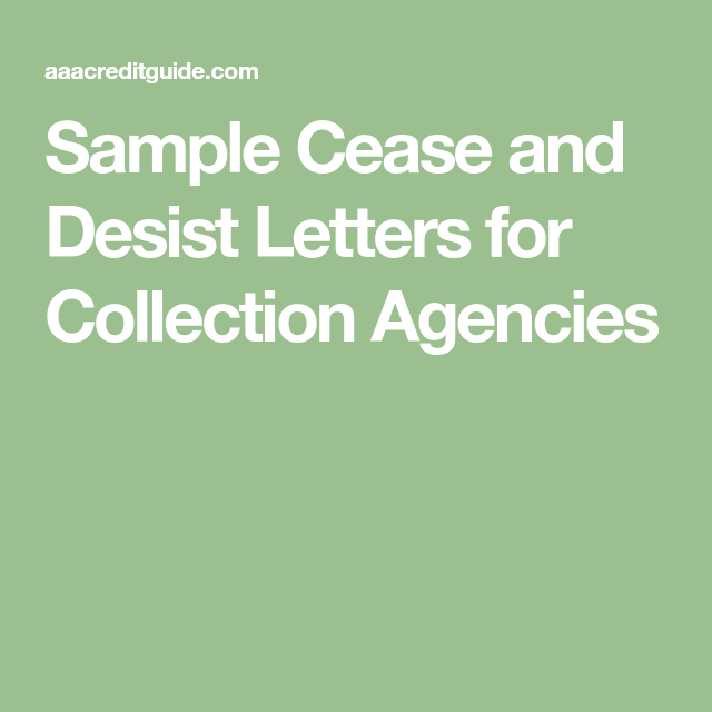 Sample Cease  Desist Letters For Debt Collectors Proven
