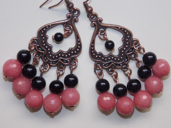 Pink and Black Agate Chandelier Earrings | Black chandelier ...