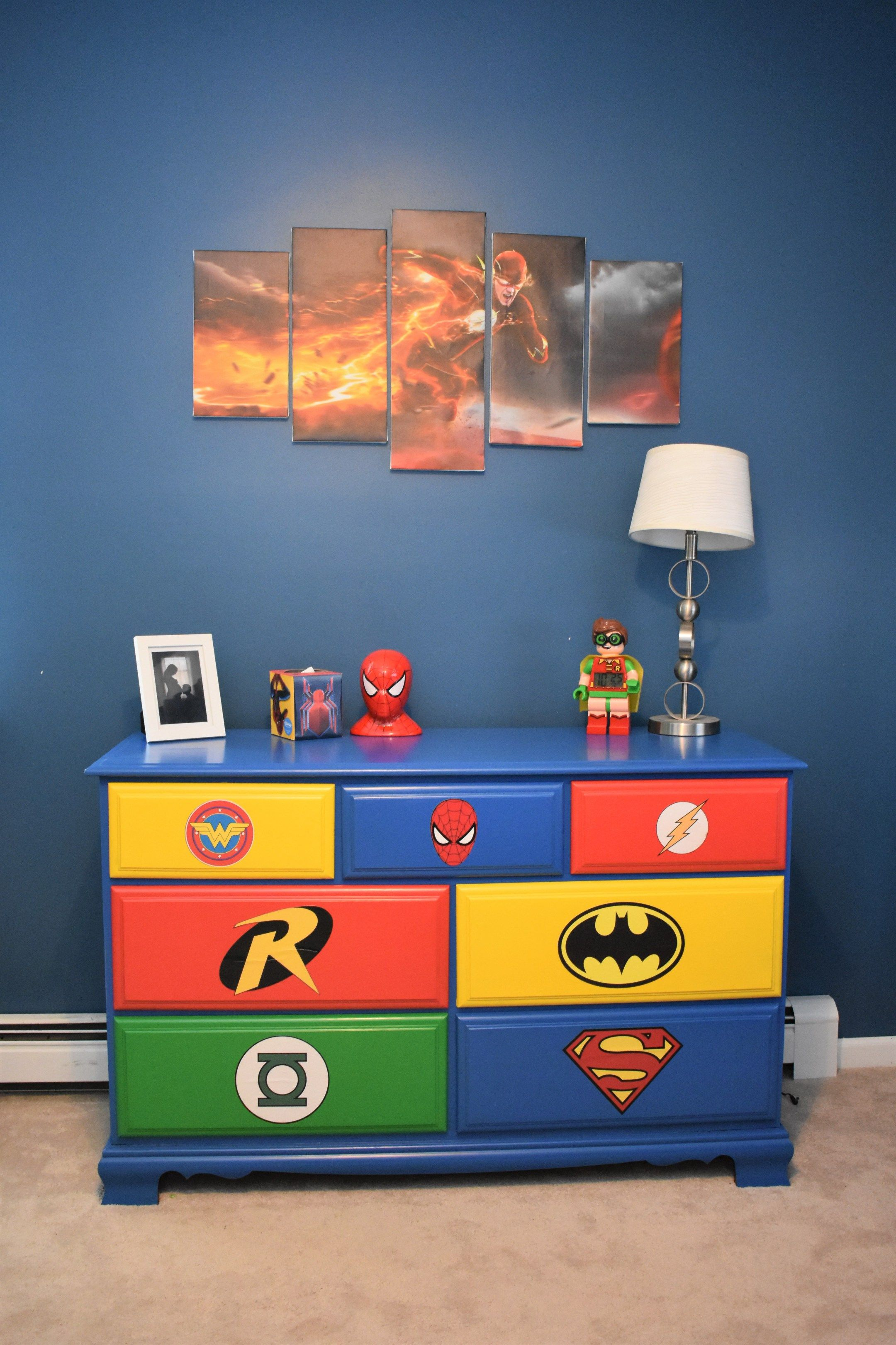 Diy Superhero Room Redeux On A Budget With Images Boy Room