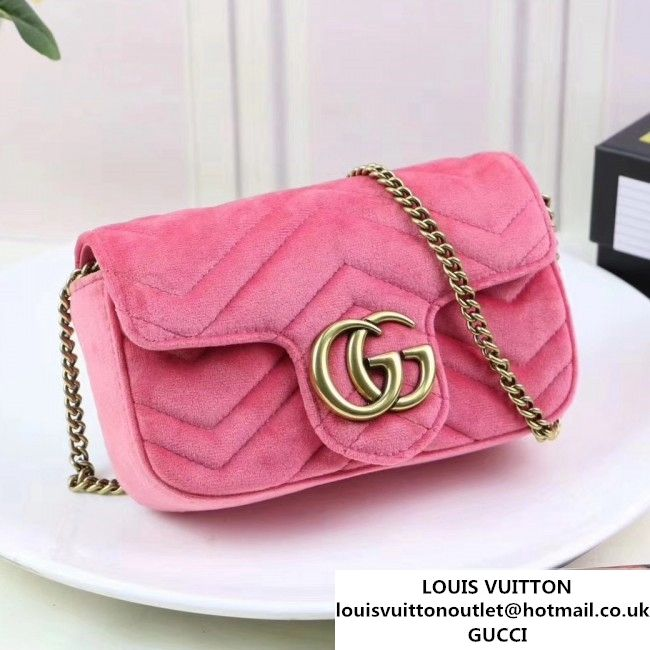 337681363 Gucci GG Marmont Velvet Matelass Chevron Super Mini Chain Shoulder Bag  476433 Pink 2017 (XYS-7092801 )