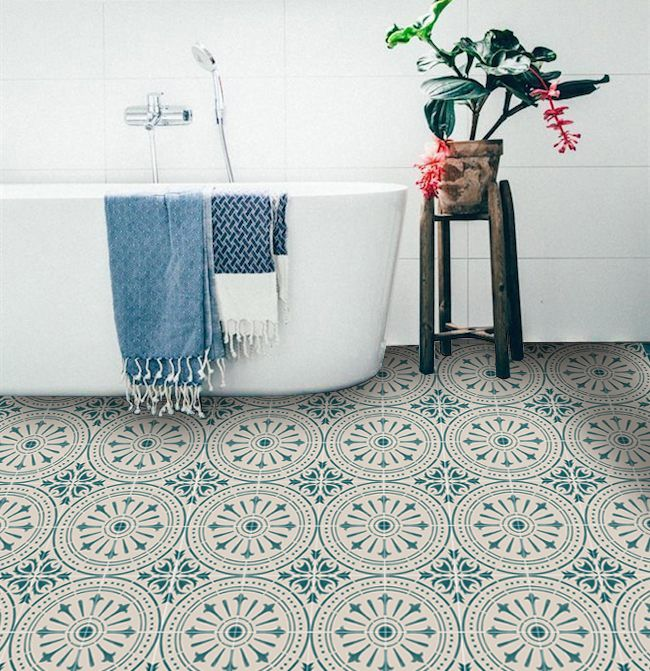 Peel Und Stick Steinoptik Vinyl Bodenbelag Fliesen: Tiles For Kitchen/Bathroom Chiave Teal On Cream