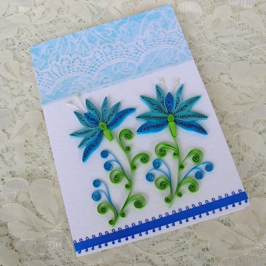 Quilling Greeting Card Paper Quilled Blue Snowdrop Flower Vintage