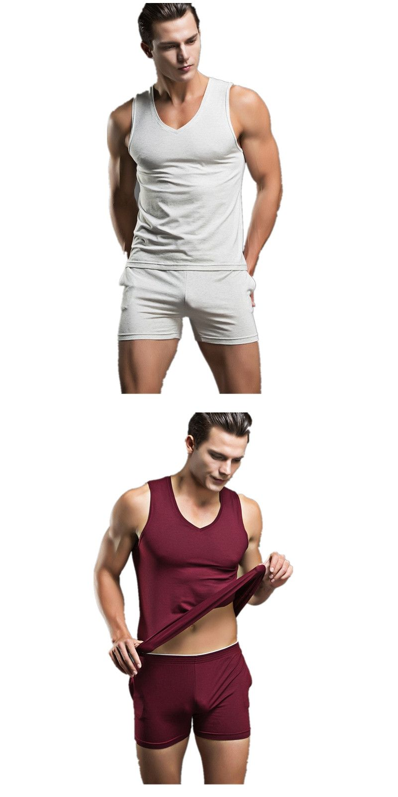 58a0c70b63 2016 Summer Mens Sexy Sleepwear Men s Cotton Nightwear Brand New Underwear  Tank Undershirts Casual Men Pajama