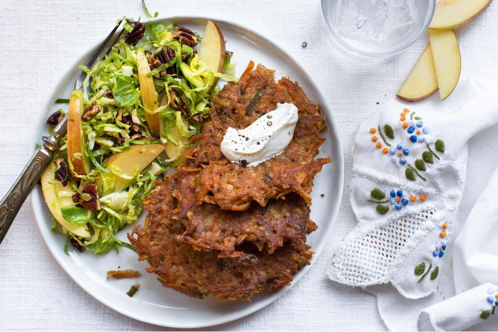 Sweet potato fritters with Brussels sprouts salad