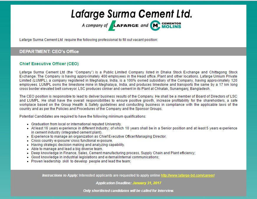 Lafarge Surma Cement Ltd - Post Chief Executive Officer (CEO