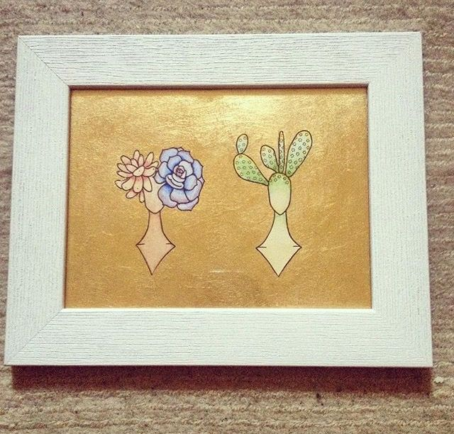 #succulents #cactus #art #etsyshop #etsy #goldleafimitation #goldleaf #illustration #gold #lady #artofgold #metallicleaf #native #framed #bust #originalart