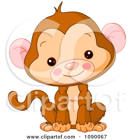 cute baby monkey sitting upright and smiling posters art prints