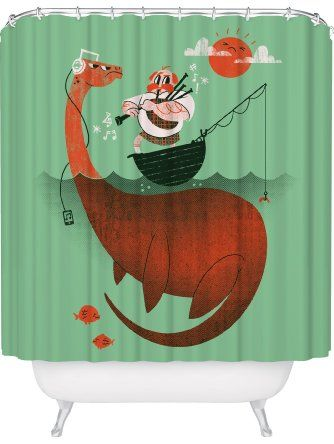 Loch Ness Monster Shower Curtain Funny Nessie Made In USA Great Decoration Gift For Bathroom