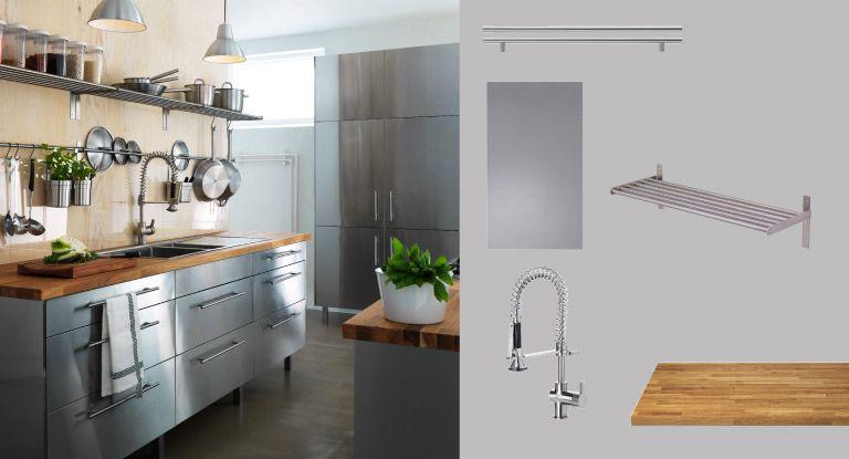 Kuchyňa FAKTUM s dvierkami/zásuvkami z nehrdzavejúcej ocele RUBRIK a dubová pracovná doska NUMERÄR