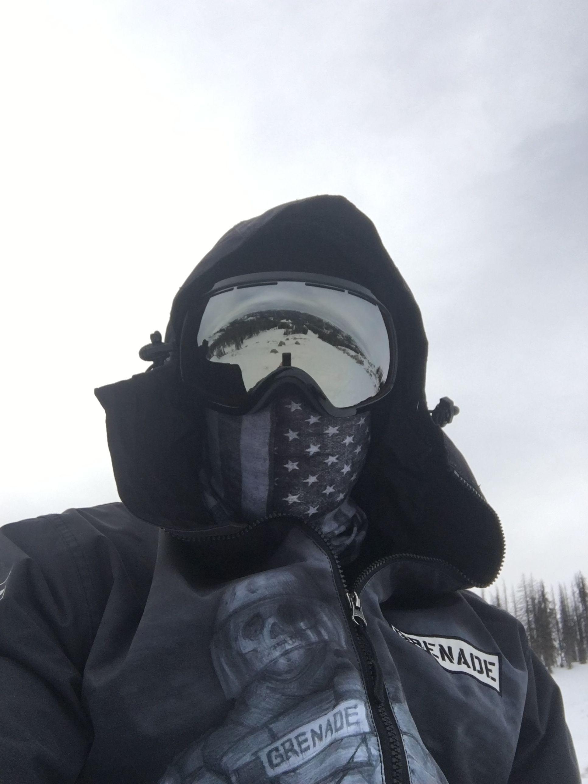Hooligan  scoggins shared his time on the slopes with us. He s rockin the   Merica  hoorag  snowboard  bandana e63da37b9